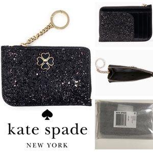 🆕KATE SPADE ♠️ - BLACK GLITTER CARD HOLDER WALLET